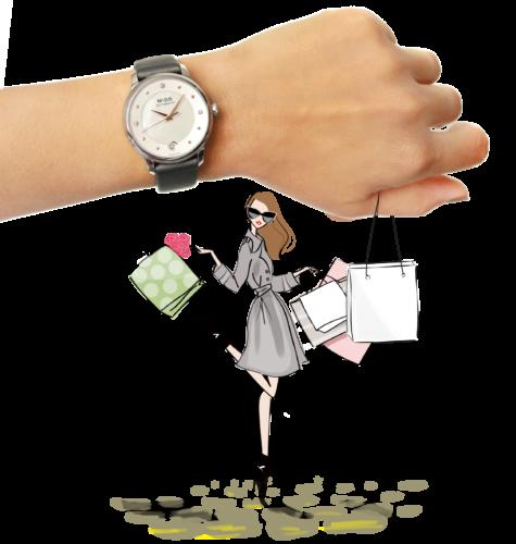 Mido Swiss automatic watches Baroncelli LadyDayNight M039 207 16 106 00 grey strap shop illustration