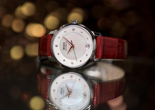 Mido Swiss automatic watches Baroncelli LadyDayNight M039 207 16 106 00 red strap night PR 3