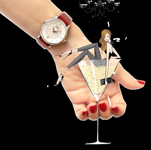 Mido Swiss automatic watches Baroncelli LadyDayNight M039 207 16 106 00 red strap night illustration