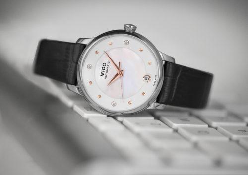 Mido Swiss automatic watches Baroncelli LadyDayNight M039 207 16 106 00 black strap work PR 5