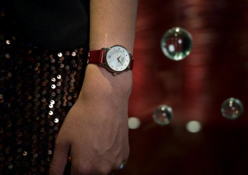 Mido Swiss automatic watches Baroncelli LadyDayNight M039 207 16 106 00 red strap night PR 1