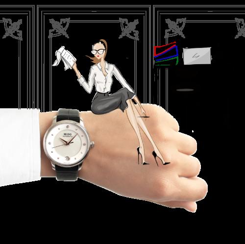 Mido Swiss automatic watches Baroncelli LadyDayNight M039 207 16 106 00 black strap work illustration