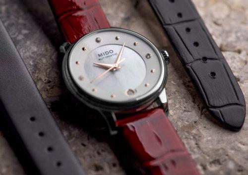 Mido Swiss automatic watches Baroncelli LadyDayNight M039 207 16 106 00 red strapnight PR 7